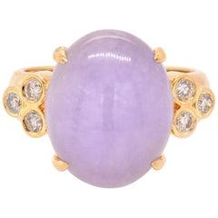18 Karat Yellow Gold Purple Jade and Diamond Ring