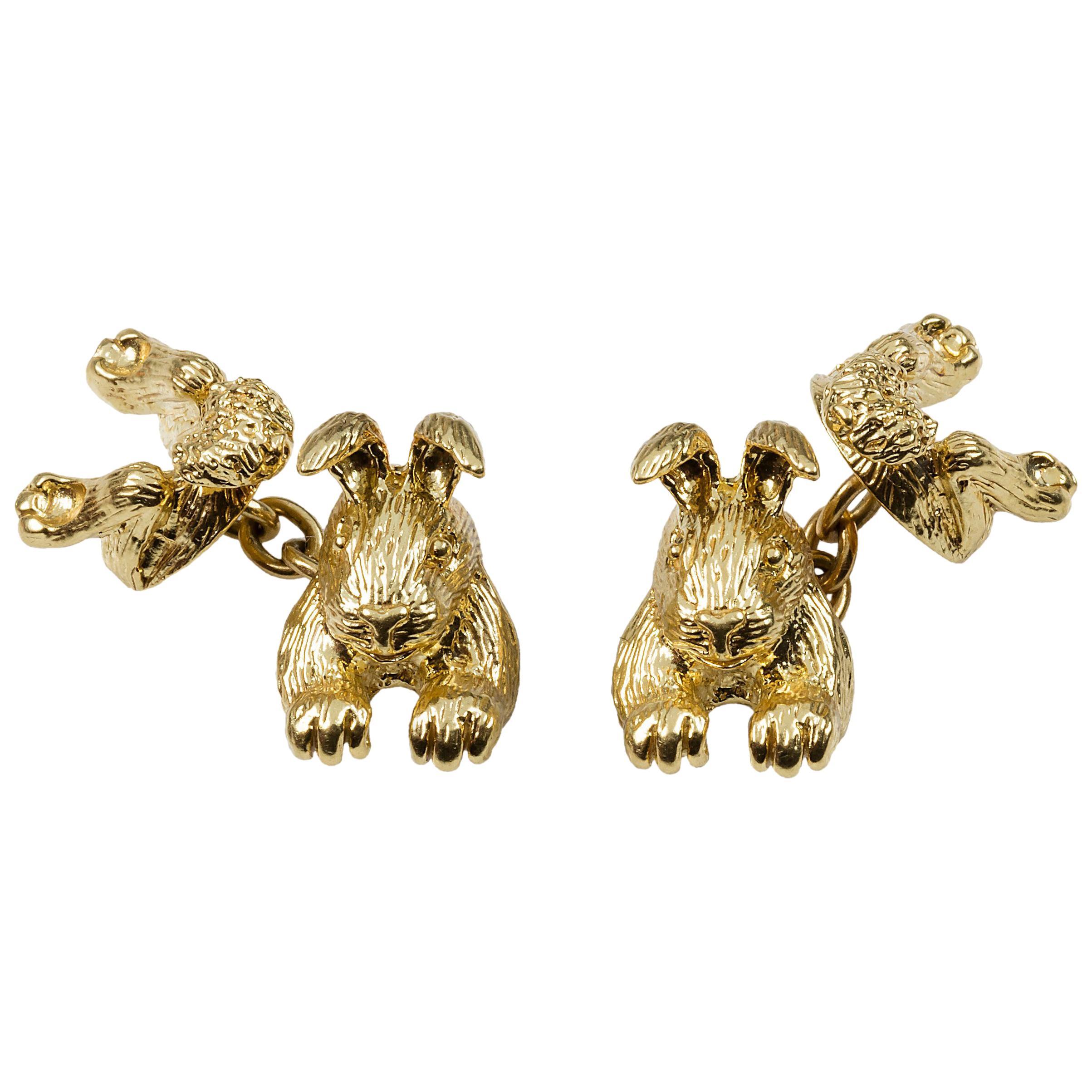 18 Karat Yellow Gold Rabbit Cufflinks