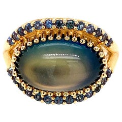 18 Karat Yellow Gold Rainbow Moonstone and Alexandrite Ring