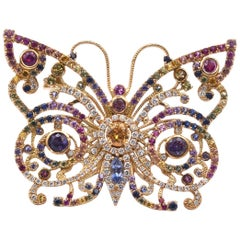 18 Karat Yellow Gold Rainbow Sapphire and Diamond Butterfly Brooch/Pendant