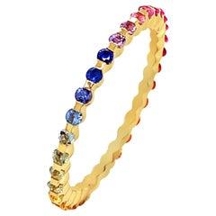 18 Karat Yellow Gold Rainbow Sapphires Garavelli Ring