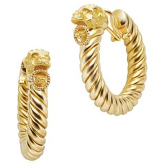 18 Karat Yellow Gold Ram Hoop Earrings