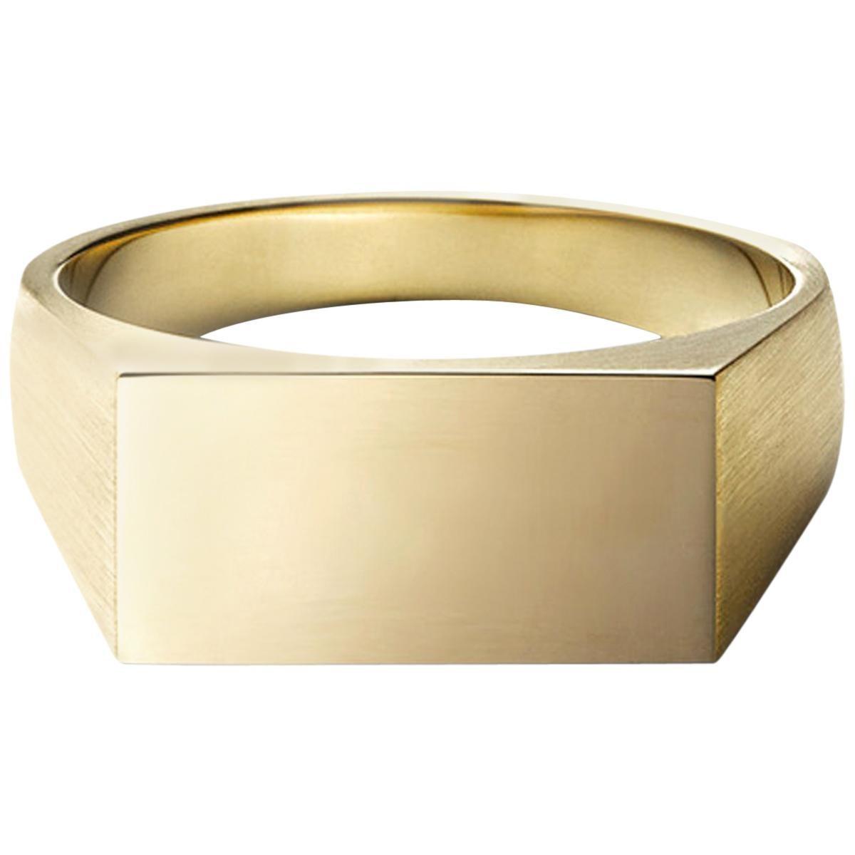 18 Karat Yellow Gold Rectangle Signet Ring Large #3~#12