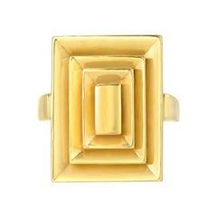 18 Karat Yellow Gold Rectangular Steppe Ring by Cartier, circa 1970s
