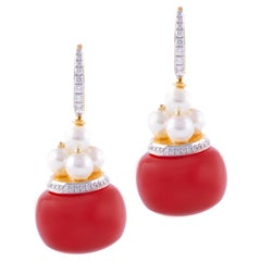 18 Karat Yellow Gold Red Carnelian Pearl and Diamond Earrings