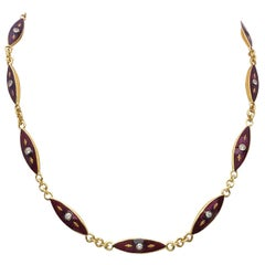 18 Karat Yellow Gold, Red Enamel with .80 Carat of Diamonds Vintage Necklace