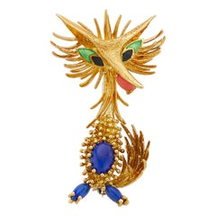 18 Karat Yellow Gold Retro Road Runner Pin