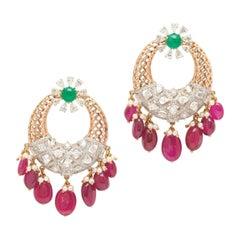 18 Karat Yellow Gold Rhodium Plated Diamond, Emerald & Ruby Earrings