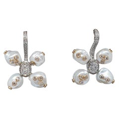 18 Karat Yellow Gold Rhodium-Plated, Diamond and Pearl Lever Back Earrings