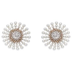 18 Karat Yellow Gold Rhodium-Plated, Diamond and Pearl Studded Ear Clips