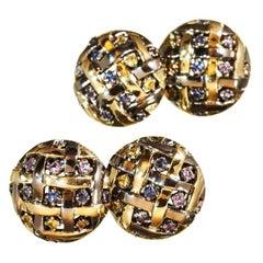 18 Karat Yellow Gold Rhodium Silver Sapphires Amethyst Rubies Citrin Cufflinks