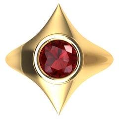 18 Karat Yellow Gold Rhombus Ruby 1.13 Carat Sculpture Ring