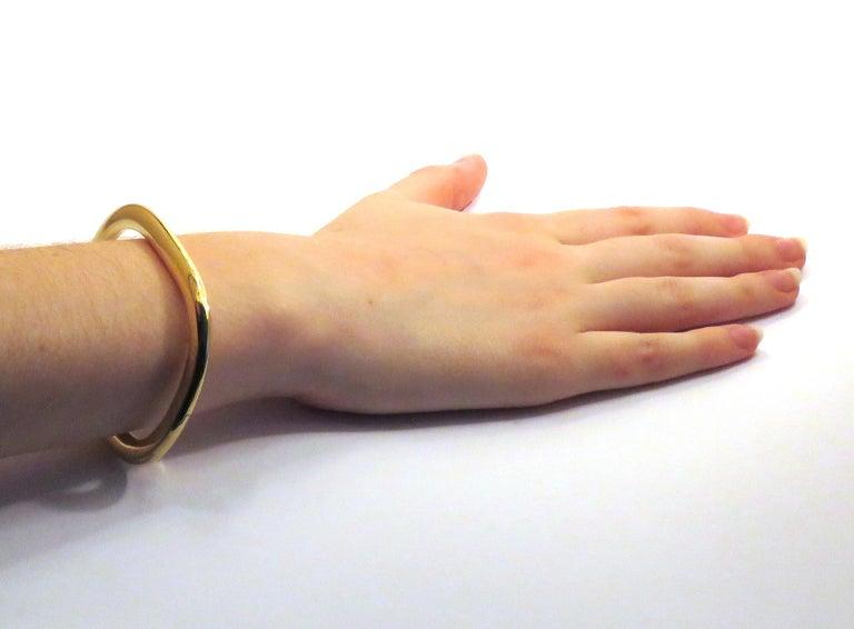 Women's 18 Karat Yellow Gold Rigid Cuff Bracelet For Sale