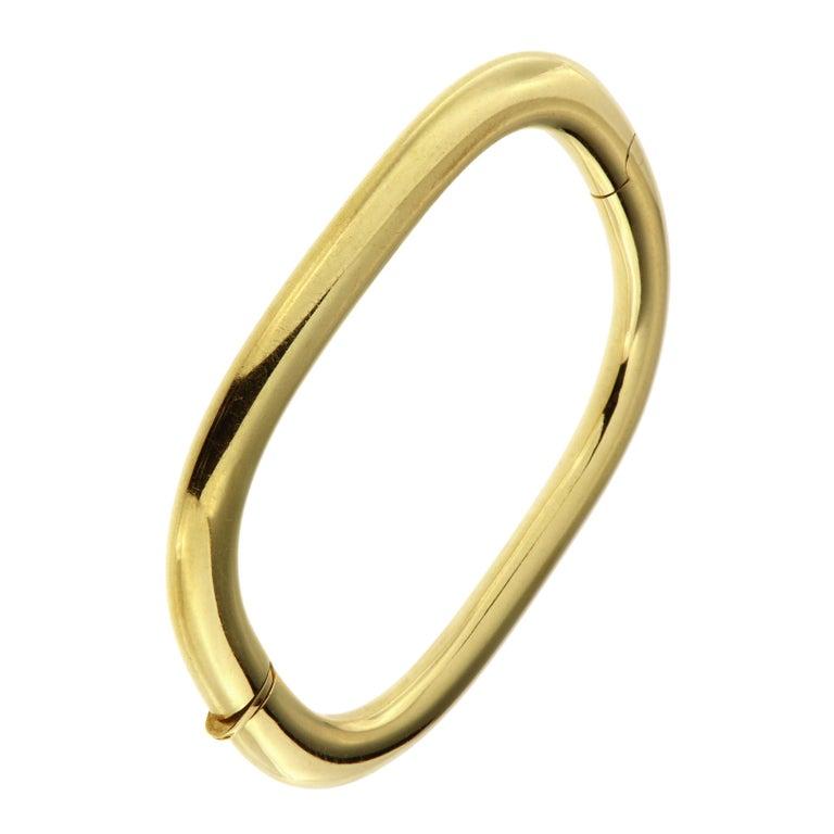 18 Karat Yellow Gold Rigid Cuff Bracelet For Sale