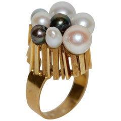 18 Karat Yellow Gold Ring Set with Eight Different Natural Pearls