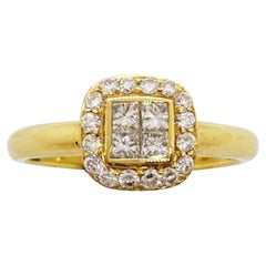 18 Karat Yellow Gold Ring with .55 Carat Princess Cut and Round Diamonds