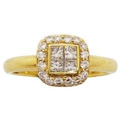 18 Karat Yellow Gold Ring with .55 Carat Princess Cut and Round Diamonds