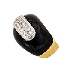 18 Karat Yellow Gold Ring with Black Onyx and .42 Carat Diamonds