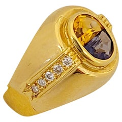 18 Karat Yellow Gold Ring with Blue Sapphire and Citrine Half Moon Center