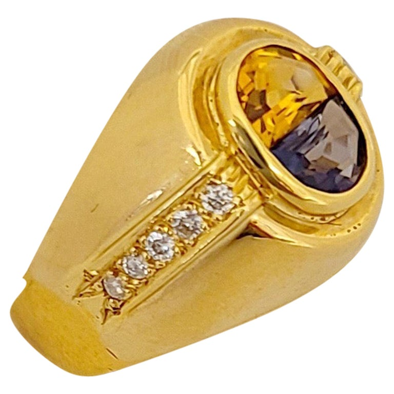 18 Karat Yellow Gold Ring with Blue Sapphire and Citrine Half Moon Center For Sale