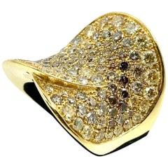 18 Karat Yellow Gold Ring with Brown Diamonds