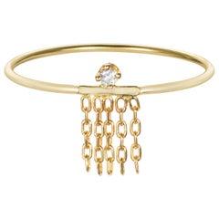 18 Karat Yellow Gold Ring With Diamond and Chain Fringe