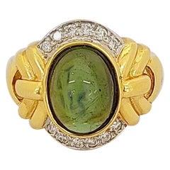 18 Karat Yellow Gold Ring with Green Tourmaline and .25 Carat Diamonds