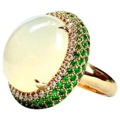 18 Karat Yellow Gold Ring with Moonstone, Diamonds and Tsavorite