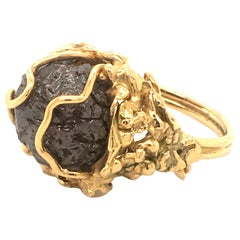 18 Karat Yellow Gold Ring with Rough Diamond