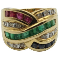 18 Karat Yellow Gold Ring with Rubies, Sapphires, Emeralds and White Diamonds