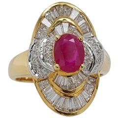18 Karat Yellow Gold Ring with Ruby, Baguette and Brilliant Cut Diamonds
