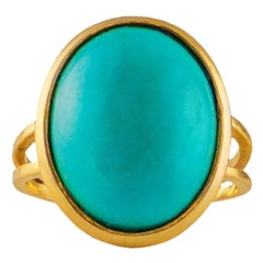 18 Karat Yellow Gold Ring with Turquoise Stone