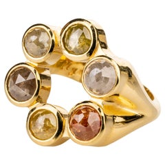 18 Karat Yellow Gold Ring with Yellow, Grey, and Red Rose Cut Diamonds