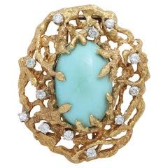 18 Karat Yellow Gold Robin's Egg Blue Turquoise and Diamond Clip