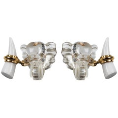 18 Karat Yellow Gold Rock Crystal Diamond and White Agate Elephant Cufflinks