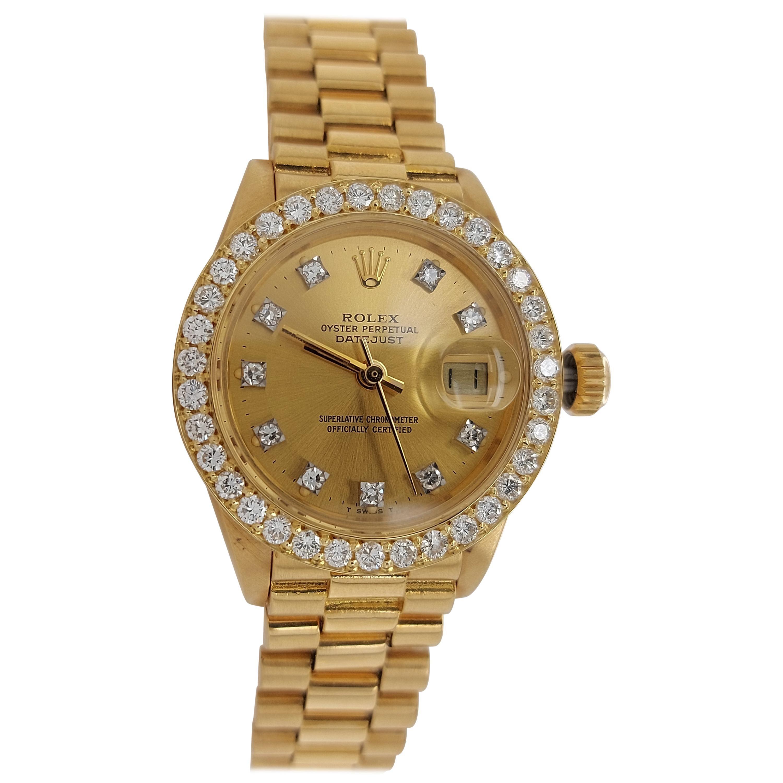 18 Karat Yellow Gold, Rolex Ladies, Datejust President with Diamonds Ref.6917