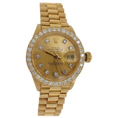 18 Karat Yellow Gold, Rolex Ladies, Datejust President with Diamonds Ref.6917
