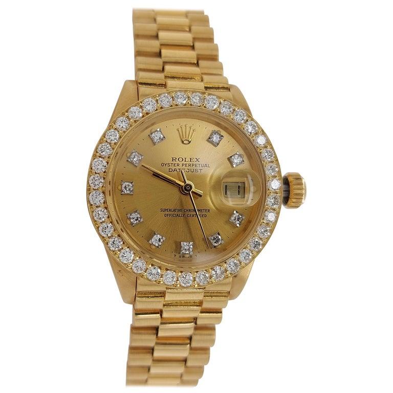 18 Karat Yellow Gold, Rolex Ladies, Datejust President with Diamonds Ref.6917 For Sale