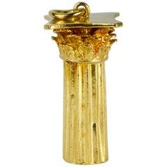 18 Karat Yellow Gold Roman Corinthian Column Charm Pendant