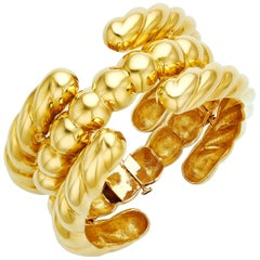 18 Karat Yellow Gold Rope Bar Bracelet