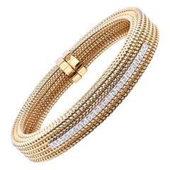 18 Karat Yellow Gold Rope Style Diamond Cuff Bracelet