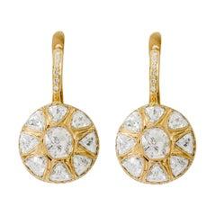 18 Karat Yellow Gold Rose-Cut Diamond Dangle Earrings in Art Deco Style