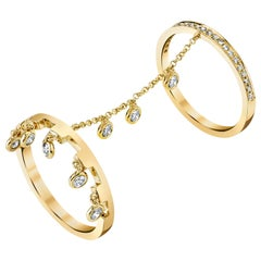18 Karat Yellow Gold, Rose-Cut Diamond Double Finger Ring