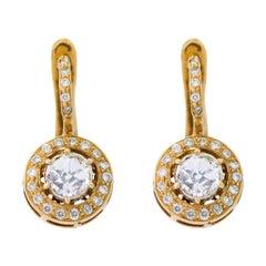 18 Karat Yellow Gold Rose-Cut Solitaire Diamond Drop Earrings in Art Deco Style