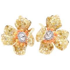 18 Karat Yellow Gold Rose Cut Yellow Diamond, Diamond Flower Earrings with Orang