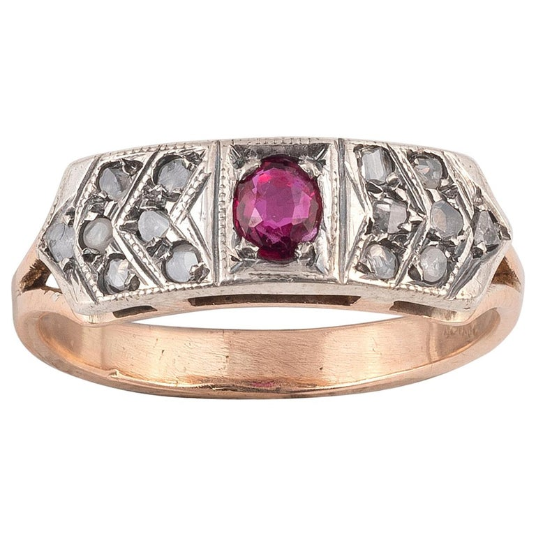 18 Karat Yellow Gold Rose Diamond and Ruby Ring For Sale