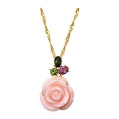 18 Karat Yellow Gold Rose Shape Miss Sango 'Pink Coral' Pendant with Tourmalines