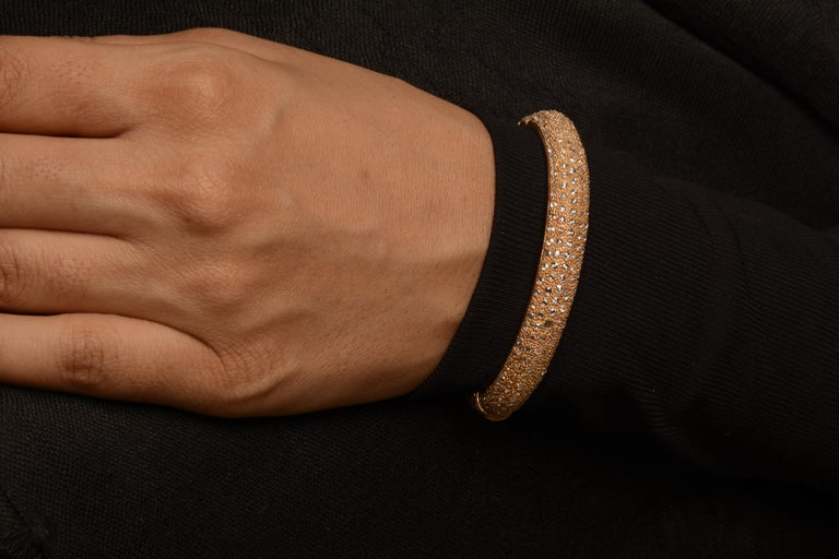 Rose Cut 18 Karat Yellow Gold Rosecut Diamond Cuff Bracelet For Sale
