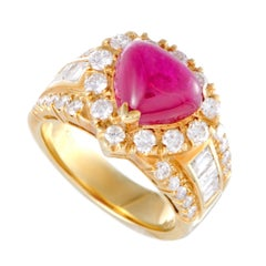 18 Karat Yellow Gold Round and Emerald Cut Diamonds Ruby Heart Ring