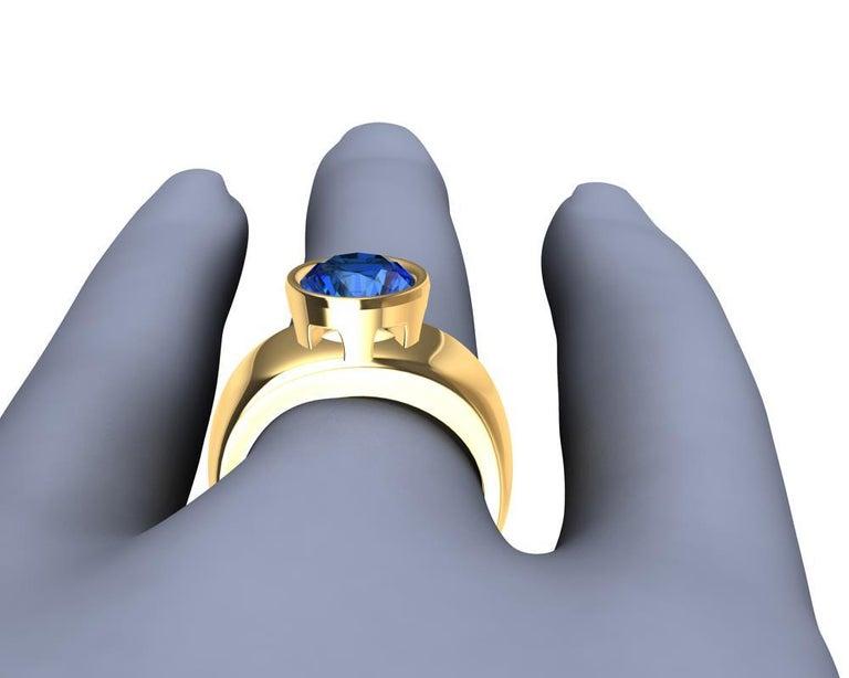 For Sale: undefined 18 Karat Yellow Gold Round Blue Sapphire 2.69 Carat Sculpture Ring 10